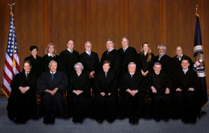 Front row:  Judges Clevenger, Plager, Newman, Rader, Mayer, Lourie, and Schall.  Back row:  Judges O'Malley, Prost, Linn, Bryson, Gajarsa, Dyk, Moore, Reyna, and Wallach. (Click on image for a larger view)
