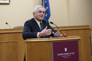 Judge Plager speaking recently at Indiana University School of Law where he was dean from 1977-84