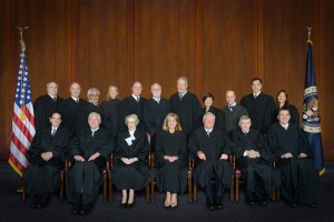 Front (L to R) Judges Clevenger, Plager, Newman, Prost, Mayer, Lourie, and Schall.  Back (L to R) Judges Hughes, Taranto, Reyna, Moore, Linn, Bryson, Dyk, O'Malley, Wallach, Chen and Stoll.  Click on image for a larger view.